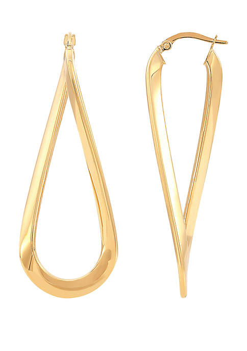 Belk & Co. Elongated Hoop Earrings in 10k
