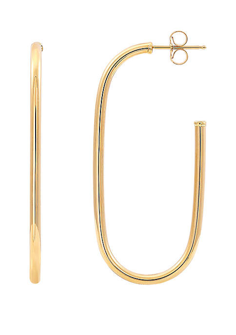Elongated Open Oval Earrings in 10k Yellow Gold