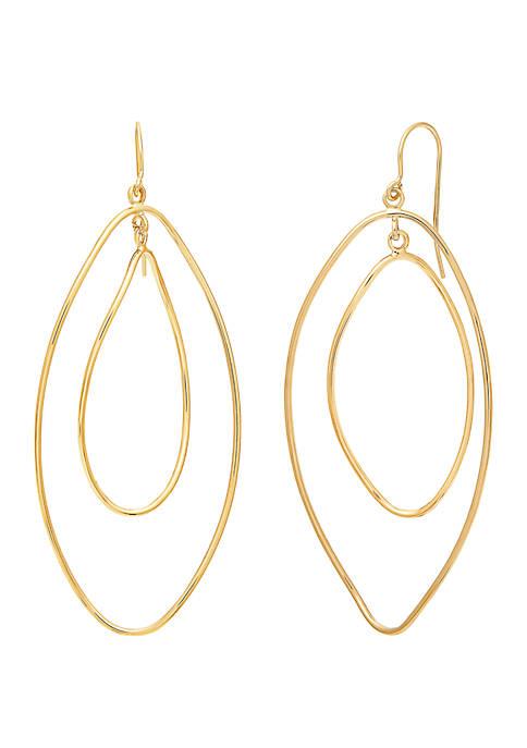 Oval Drop Earrings in 10k Yellow Gold