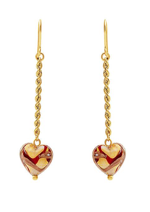 10k Heart Dangle Earrings