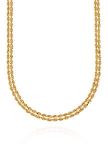 Two Row Rope Necklace in 10K Yellow Gold