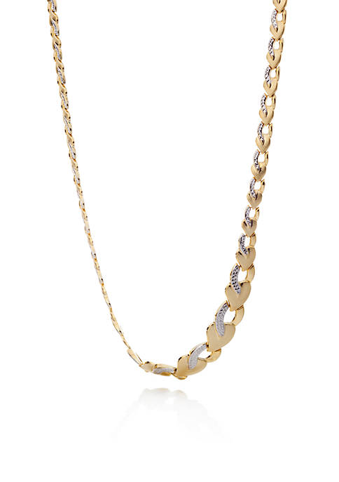 Two-Tone 10K Yellow Gold & White Gold Stampato Tear Necklace