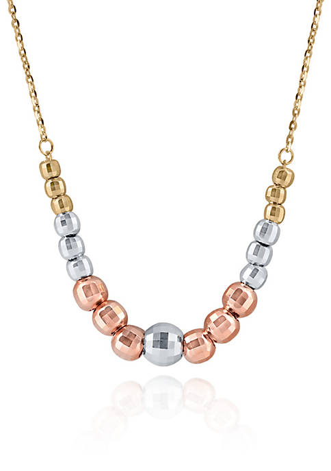 Tricolor Graduated Beads Necklace in 10K Yellow Gold