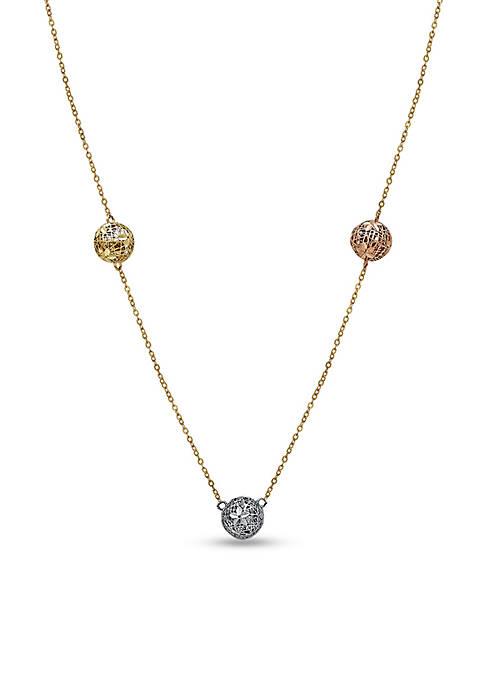 Belk & Co. 10k Tri-Color Mesh Bead Necklace