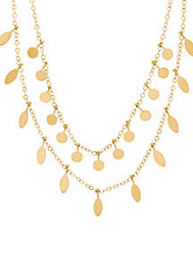 10 ct. t.w. Polished Layer Disc Drop Necklace in 10k Yellow Gold
