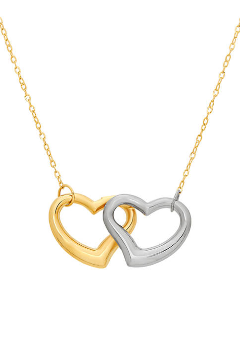 2-Tone Double Open Heart Necklace in 10K Yellow and White Gold