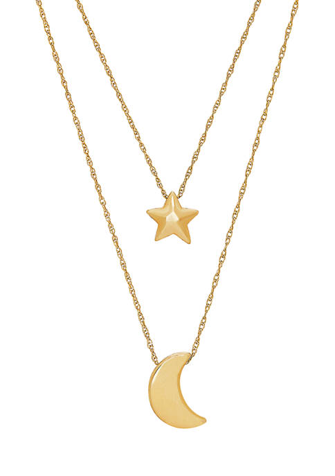 Polished Star & Moon Necklace in 10k Yellow Gold