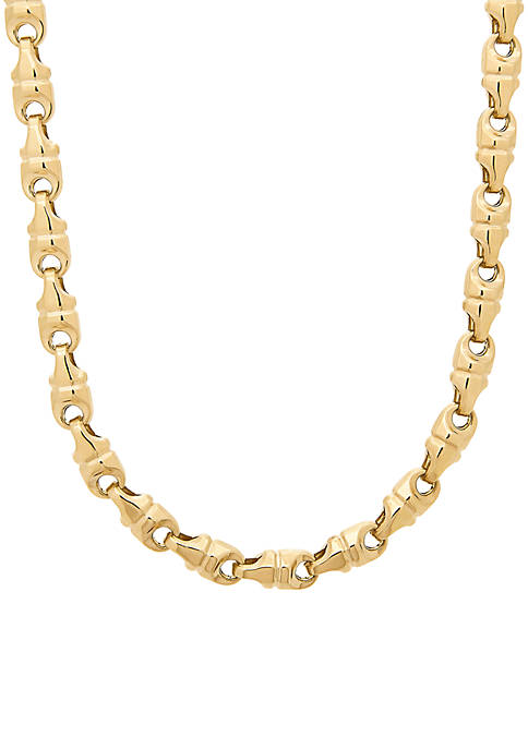 Mens Diamond Cut Link Chain Necklace in 10k Yellow Gold