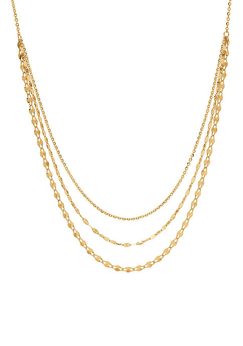Mirror 3-Strand Grad Necklace in 10K Yellow Gold