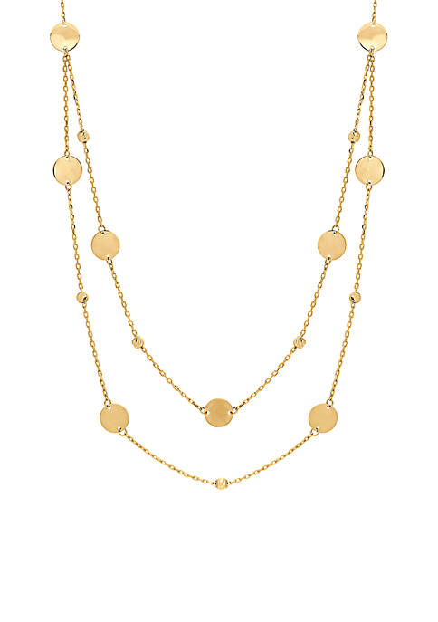 Layered Disc and Bead Necklace in 10K Yellow Gold