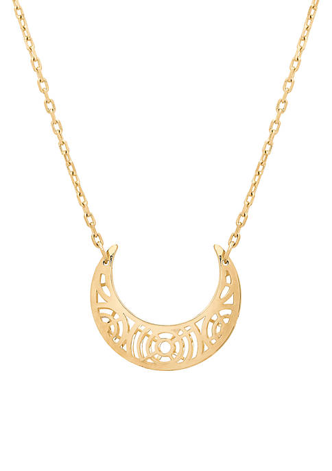 Cutout Half Moon Necklace in 10k Yellow Gold