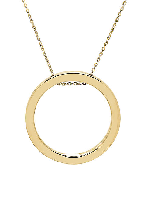 Polished Open Circle on Cable Chain Necklace in 10k Yellow Gold