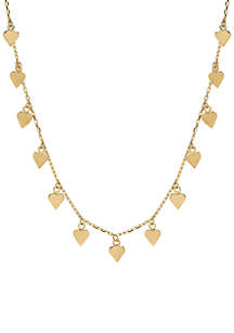 Heart Drop on Cable Chain Necklace in 10k Yellow Gold