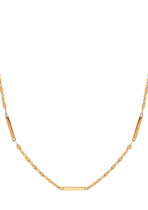 10K Yellow Gold Square Bar Necklace