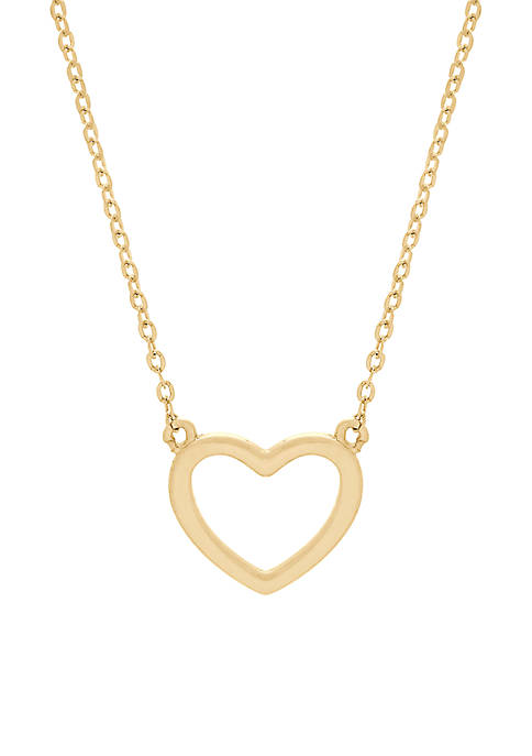 Polished Heart Necklace in 10k Yellow Gold