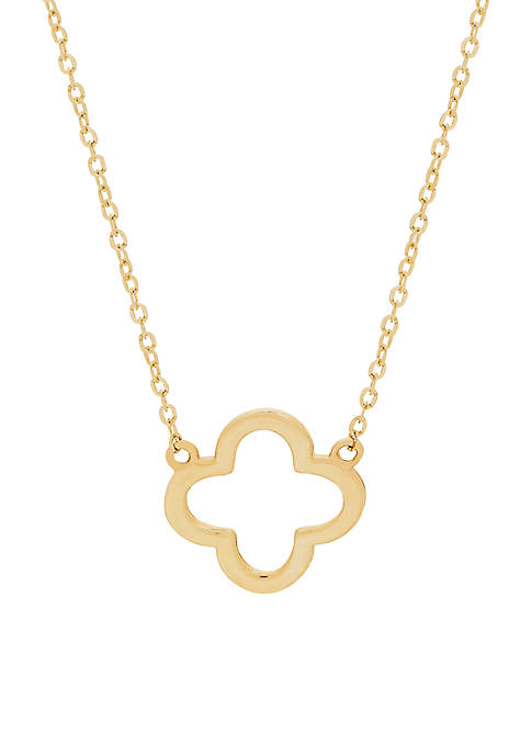 Polished Flower Necklace in 10k Yellow Gold
