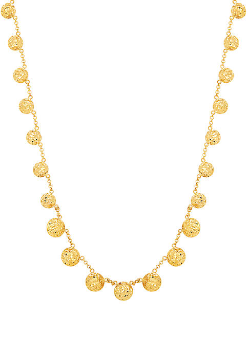 Beaded Tincup Necklace in 10k Yellow Gold