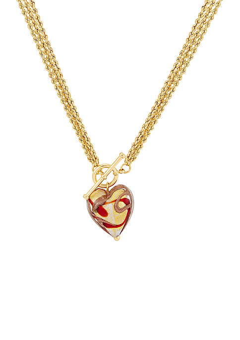 Belk & Co. 3 Row Chain Heart Necklace