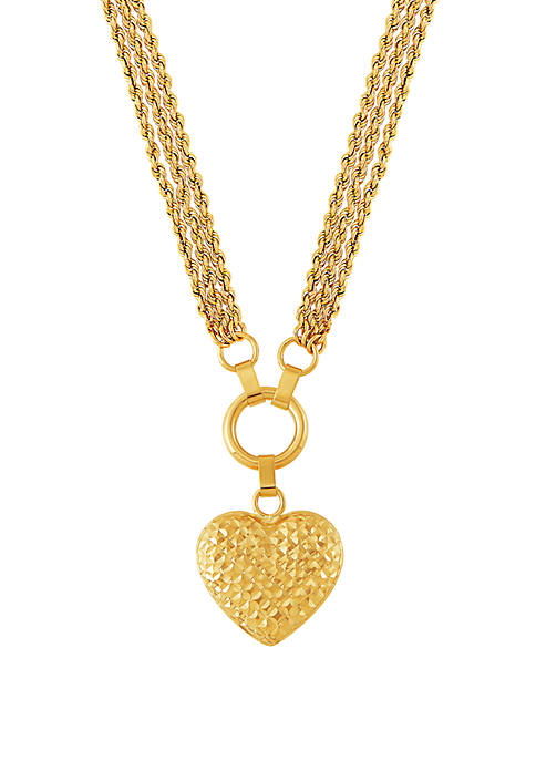3 Rope Heart Pendant Necklace in 10k Yellow Gold