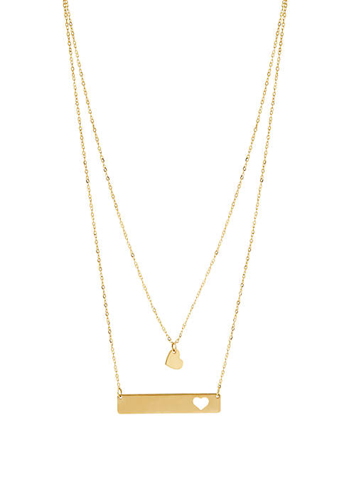 Belk & Co. Heart Bar Cable Chain Necklace