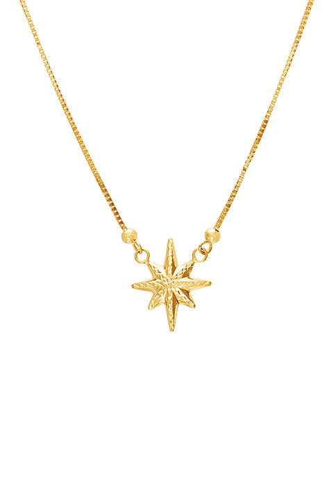 Star Pendant Box Chain Necklace in 10k Yellow Gold