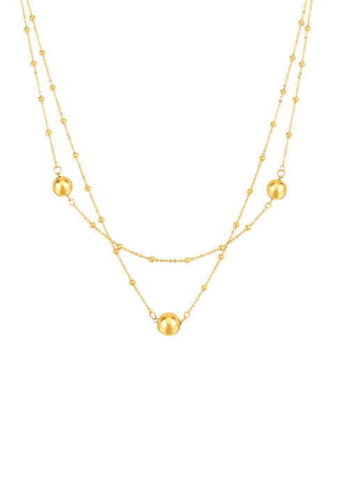 Double Layer Necklace in 10K Yellow Gold