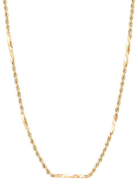 Hollow Tube Station Necklace in 10K Yellow Gold