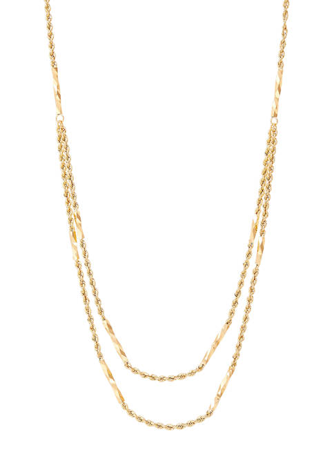 Hollow Double Layered Tube Station Necklace in 10K Yellow Gold