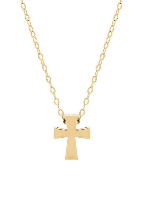 Square Cut Cross Pendant Necklace in 10k Yellow Gold