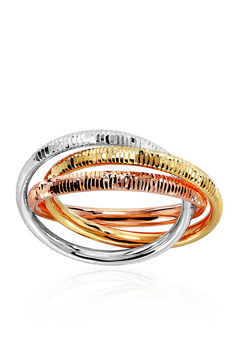 Diamond Cut Roll Rigged Edge Ring in 10k Tri Color Gold