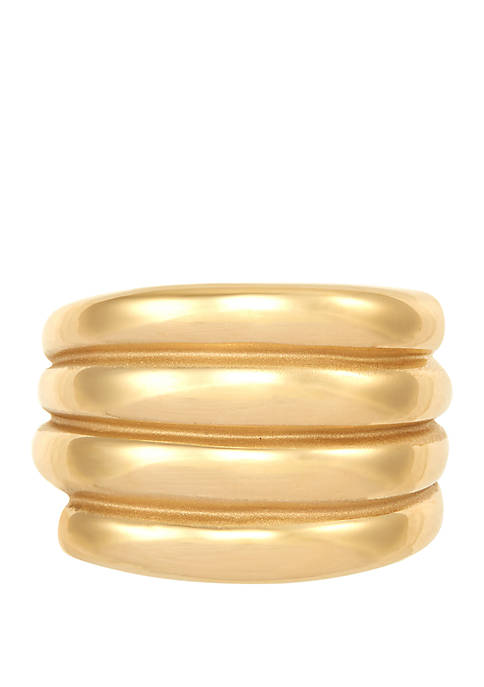 4 Row Band Ring in 10k Yellow Gold
