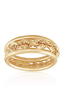 10K Yellow Gold Graduated Rope Ring
