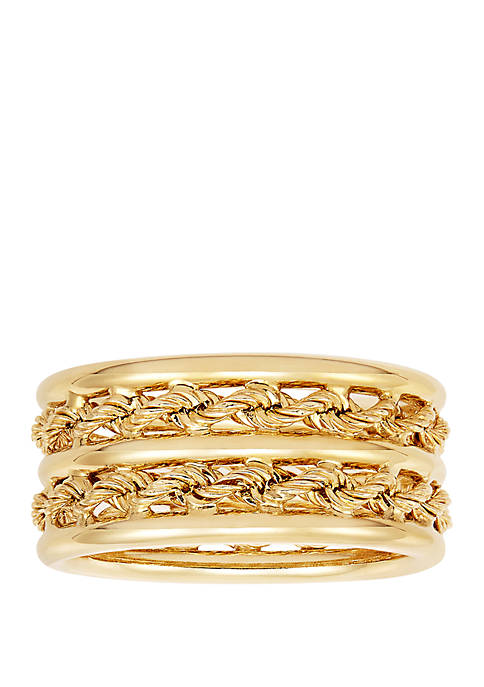 Double Row Ring in 10k Yellow Gold