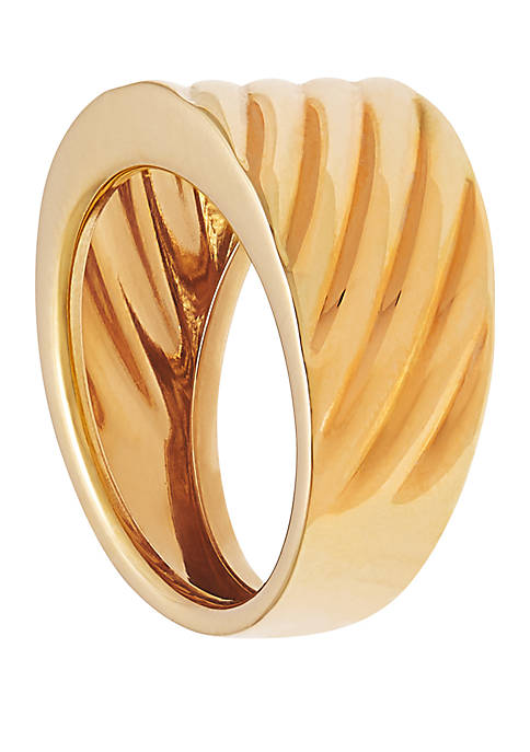 Ribbed Band Ring in 10k Yellow Gold