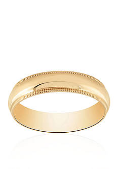Belk & Co. Polished Com Fit Milgrain Ring in 10k Yellow Gold