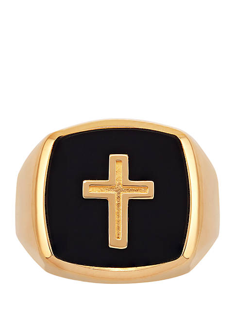 Belk & Co. Cross Onyx Ring in 10k