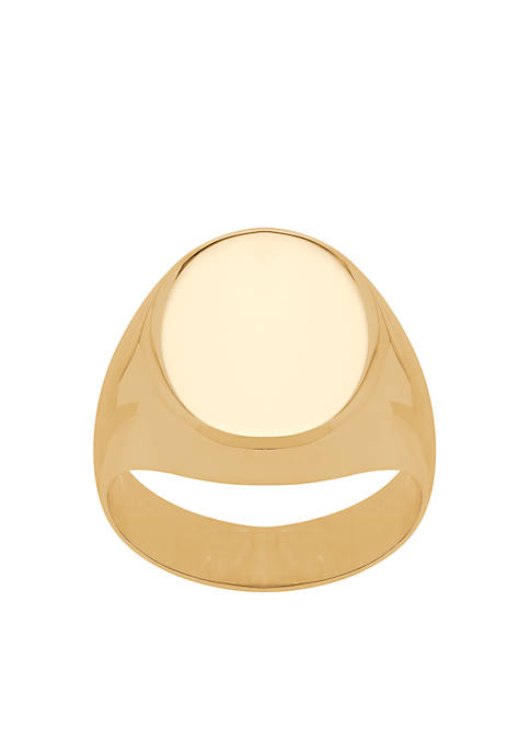 Polished Oval Cushion Ring in 10k Yellow Gold
