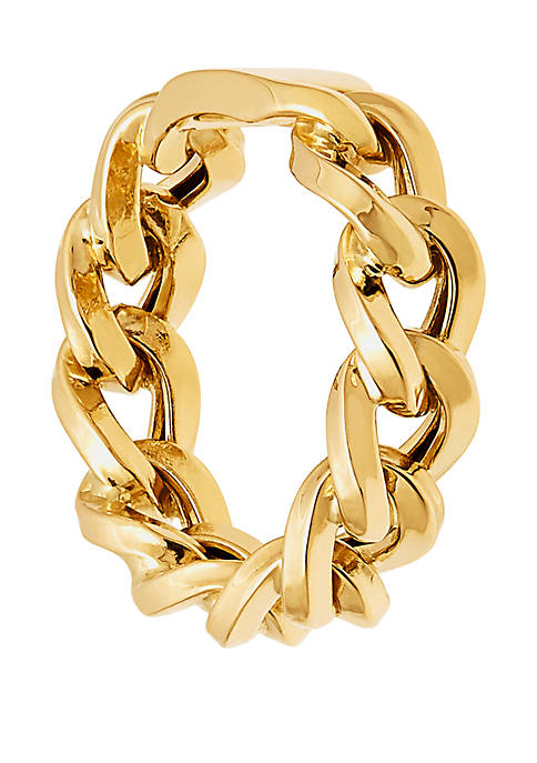 Chain Band WIth Bar Ring in 10k Yellow Gold