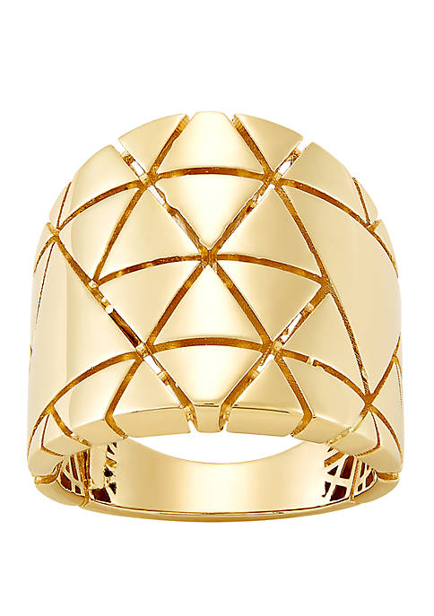 Star Design Band Ring in 10k Yellow Gold