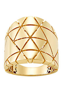Belk & Co. Star Design Band Ring in 10k Yellow Gold