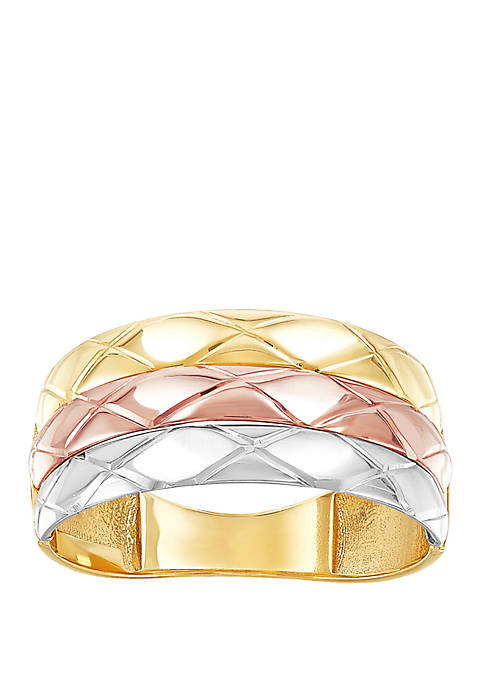 Triple Row Band Ring in 10k Yellow/Rose Gold