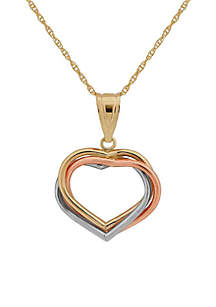 10KY Gold Tri Color Three Hearts Pendant Necklace