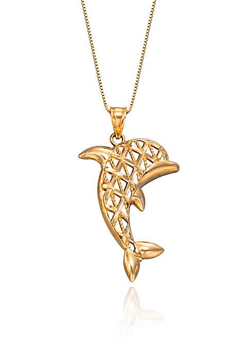 Belk & Co. Dolphin Pendant Necklace in 10K