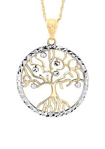 Two-Tone 10K Family Tree Pendant Necklace