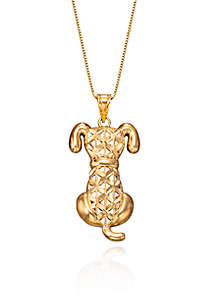 Belk & Co. Dog Pendant Necklace in 10K Yellow Gold