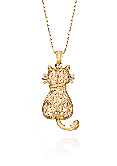 Cat Pendant in 10K Yellow Gold