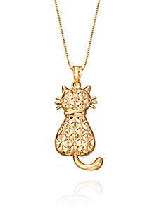 Belk & Co. Cat Pendant in 10K Yellow Gold