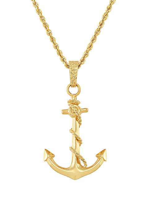Anchor Pendant Necklace in 10K Yellow Gold