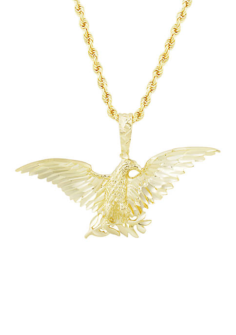 Mens Eagle Pendant Necklace in 10k Yellow Gold