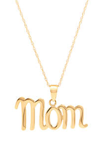 Belk & Co. Mom Pendant Necklace in 10k Yellow Gold